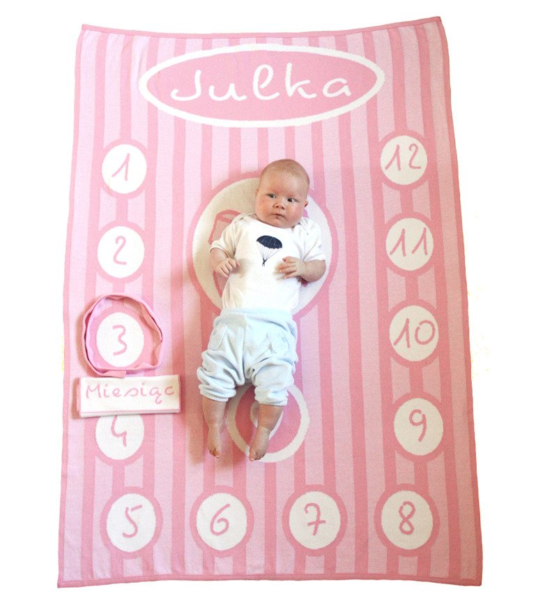 Ribbon Photo Blanket With A Name Light Pink 90x120 Cm Personalized