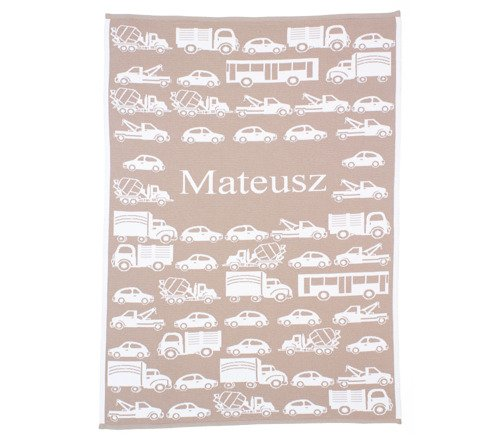 Big cars blanket with a name      75x100 cm