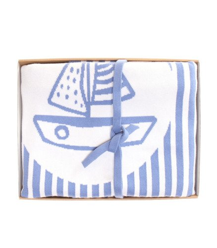 Boat photo blanket with a name dark blue 90x120 cm