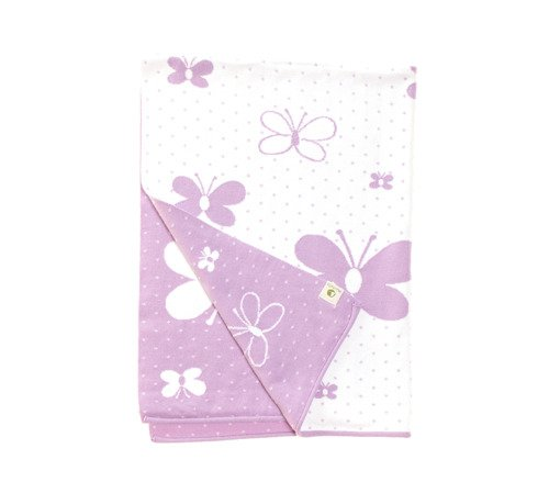 Butterflies the cotton blanket 120x90  white letters and lavender background