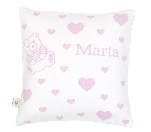 Hearts and a teddy. Pillow case with a name