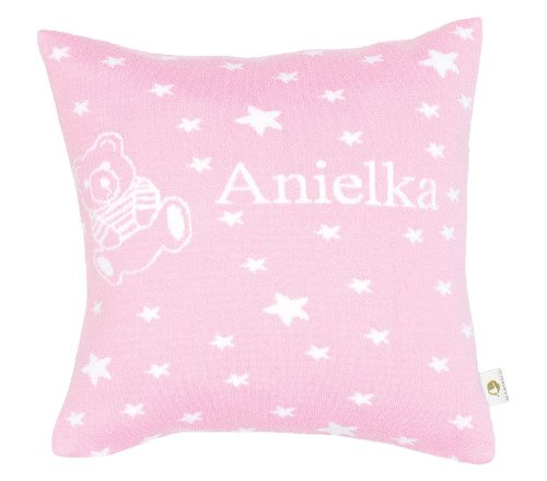 Little stars and a teddy. Pillow case with a name