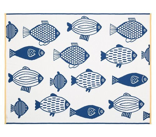 Organic cotton blanket with FISHES 100 x 130 cm