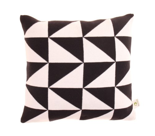 Organic cotton pillowcase. Triangles 40x40 black/offwhite