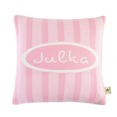 Pillowcase with a name. Ribbon