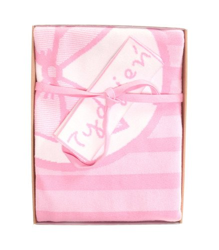 Ribbon photo blanket with a name light pink 90x120 cm